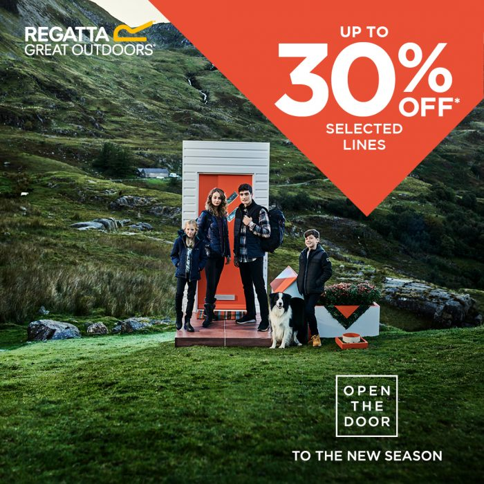 Open the door to the new season at Regatta! Up to 30% off selected lines! Enjoy big discounts and the remainder of the huge clearance sale!